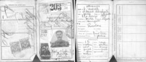 Fronte e retro del passaporto originale usato da Aniellantonio Feola. Si osserva: data, luogo di nascita, professione e il paese destinato. Venivano anche identificati i dati dei genitori, e un blocco con le caratteristiche fisiche dell'utente.