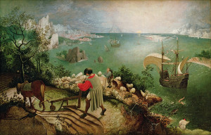 XIR3675 Landscape with the Fall of Icarus, c.1555 (oil on canvas) by Bruegel, Pieter the Elder (c.1525-69); 73.5x112 cm; Musees Royaux des Beaux-Arts de Belgique, Brussels, Belgium; (add.info.: Icarus seen with his legs thrashing in the sea;); Giraudon; Flemish,  out of copyright