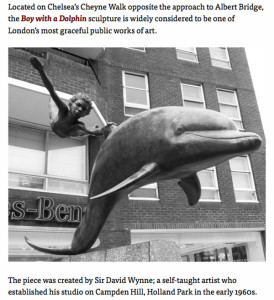 London. Boy with a dolphin