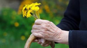 Donna anziana con fiori di campo