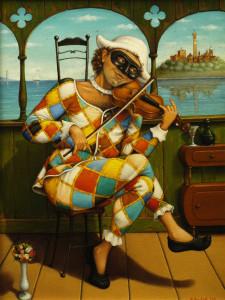 G. Boschetti. Arlecchino con violino. 2001