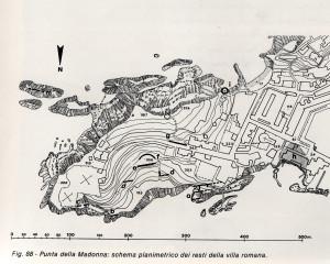 Punta della Madonna schema plamimetrica dei resti della villa romana