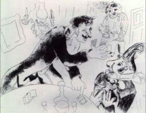 Marc Chagall, illustrazione per le Anime Morte di N. Gogol', Nozdrёv e Cicikov, 1923-1926