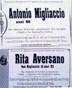 Annunci funerari A. Migliaccio-R. Aversano