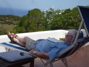front-garden-Villa-Gabbiano- View of Palmarola island
