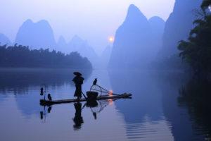Cina Guilin. La pesca col cormorano sul fiume Lijiang