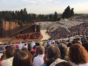 Teatro greco di Siracusa. La rappresentazione dell'Elettra di Sofocle. Sabato 4 giugno