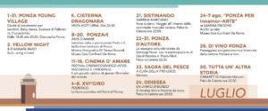 Ponza Estate 2016. Programma di luglio