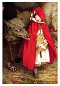 Cappuccetto Rosso e il lupo in un'illustrazione di J. W. Smith. 1911