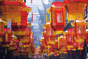 Lanterns for Chinese New Year Festival, Shanghai, China