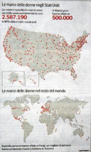 Le marce delle donne negli Stai Uniti e nel mondo.
